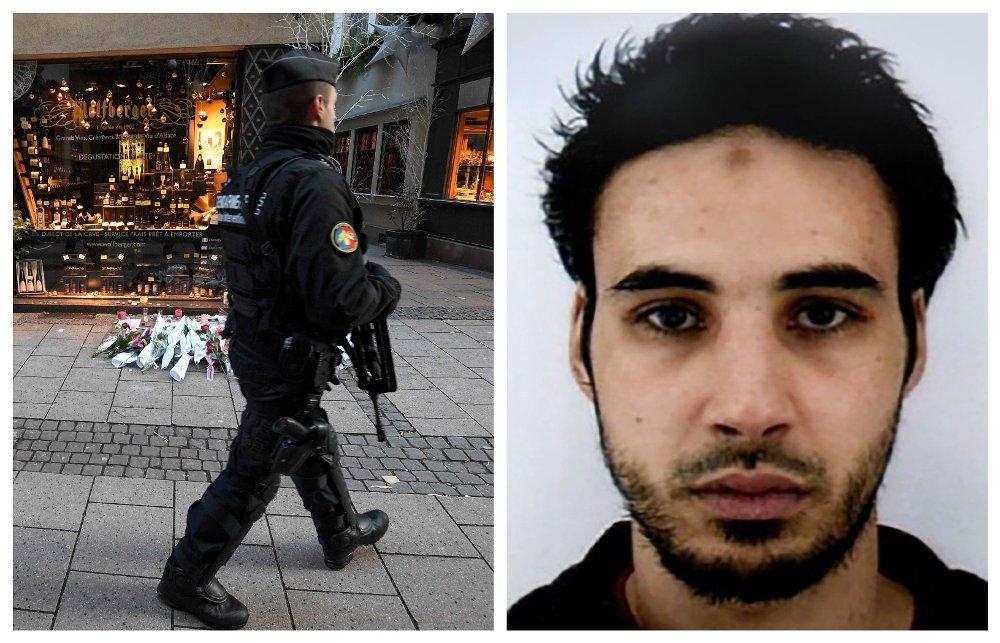 TATT: Fransk politi i gatene i Strasbourg to dager etter at en mann skjøt og drepte nær et julemarked i byen. Til høyre den terrorsiktede Cherif Chekatt.