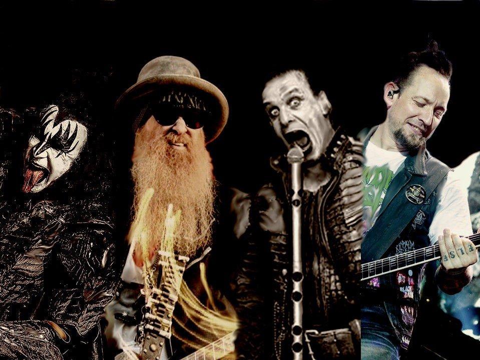 Fra venstre: Gene Simmons (Kiss), Billy Gibbons (ZZ Top), Till Lindemann (Rammstein) og Michael Poulsen (Volbeat)