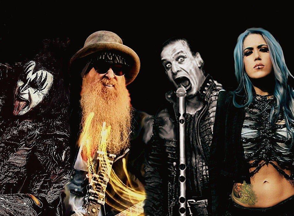 Fra venstre: Gene Simmons (Kiss), Billy Gibbons (ZZ Top), Till Lindemann (Rammstein) og Alissa White Gluz (Arch Enemy)