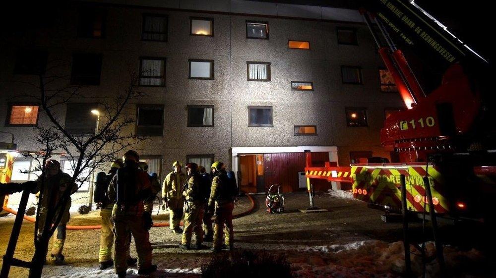 BLOKKBRANN: Det brant i en bolig på Skjetten i Akershus.