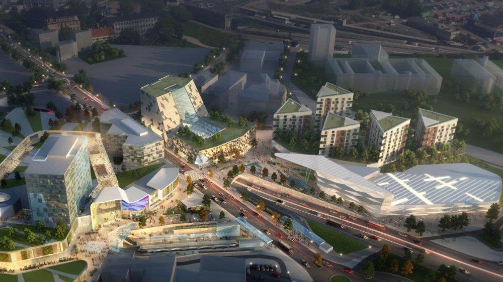 BADESTRID: Utbygger har mistet lysten på å bygge et badeland på Økern i Oslo (det store bygget til høyre), og spør kommunen om de har forslag til en alternativ bruk av tomta. Men kommunen påpeker at et badeland må bygges for å få realisert hele prosjektet.