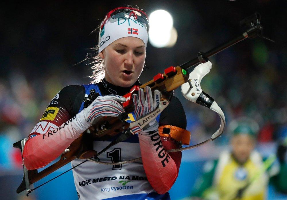 Marte Olsbu Røiseland ble beste norske med 12.-plass. Foto: Petr David Josek / AP / NTB scanpix