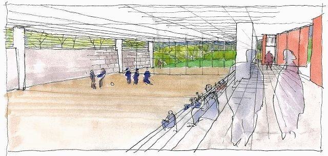Idrettsfasilitetene ved «nye» Kjelsås skole blir mindre enn først planlagt. Her arkitektskissene av flerbrukshallen, slik den var tenkt i november 2007. Illustrasjon: HWR ARKITEKTER AS
