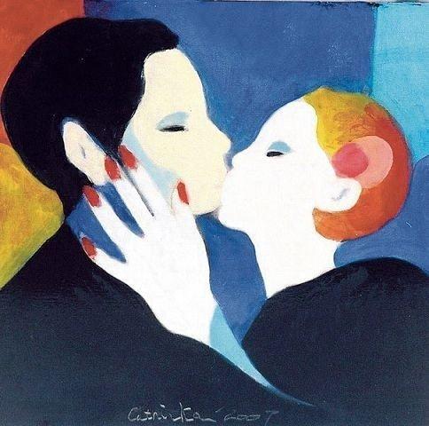 Maleri signert kunstner Cathinka Kielland Gedde.