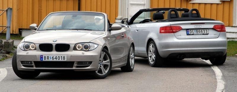 POPULÆRE: Fjorårets bestselger BMW 1-serie med Audi A3 i bakgrunnen. (Foto: Øivind Skar)