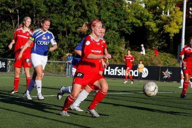 1-0: Becky Sauerbrunn satt inn Røas første mål mot Kattem. Foto: Carina Alice Bredesen