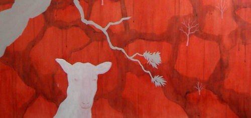 Malerier signert Margrét Reykdal fra serien med vann som tema. (Utsnitt) FOTO: UTLÅNT