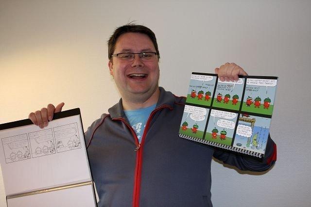 Kenneth Oden (39) lager tegneserien To tomater. Du finner den på nettserier.no.