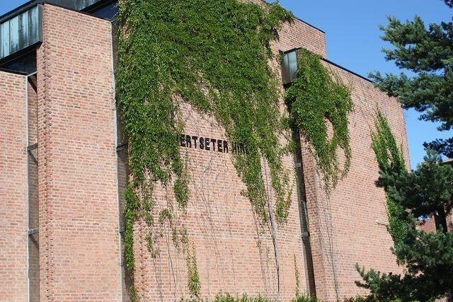 Om villvinen på Lambertseter kirkes vegg mot Langbølgen får fortsette å vokse uhemmet, vil den snart dekke det fine navneskiltet.