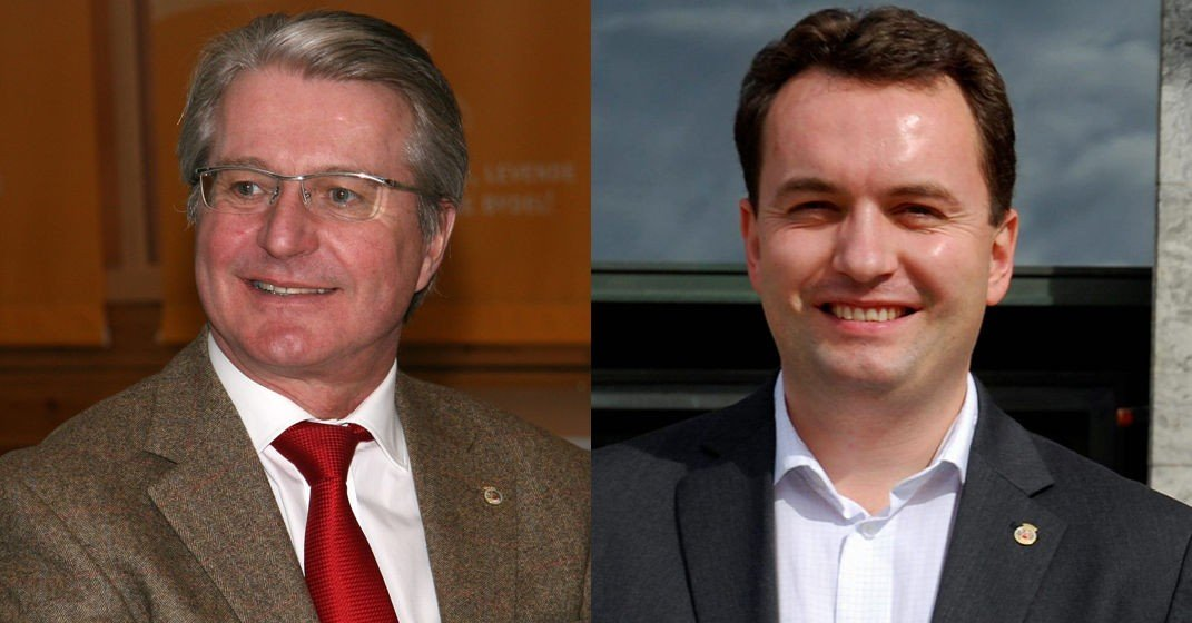 Både Fabian Stang (t.v) og Stian Berger Røsland er nominert til henholdsvis ordførerkandidat og byrådslederkandidat.