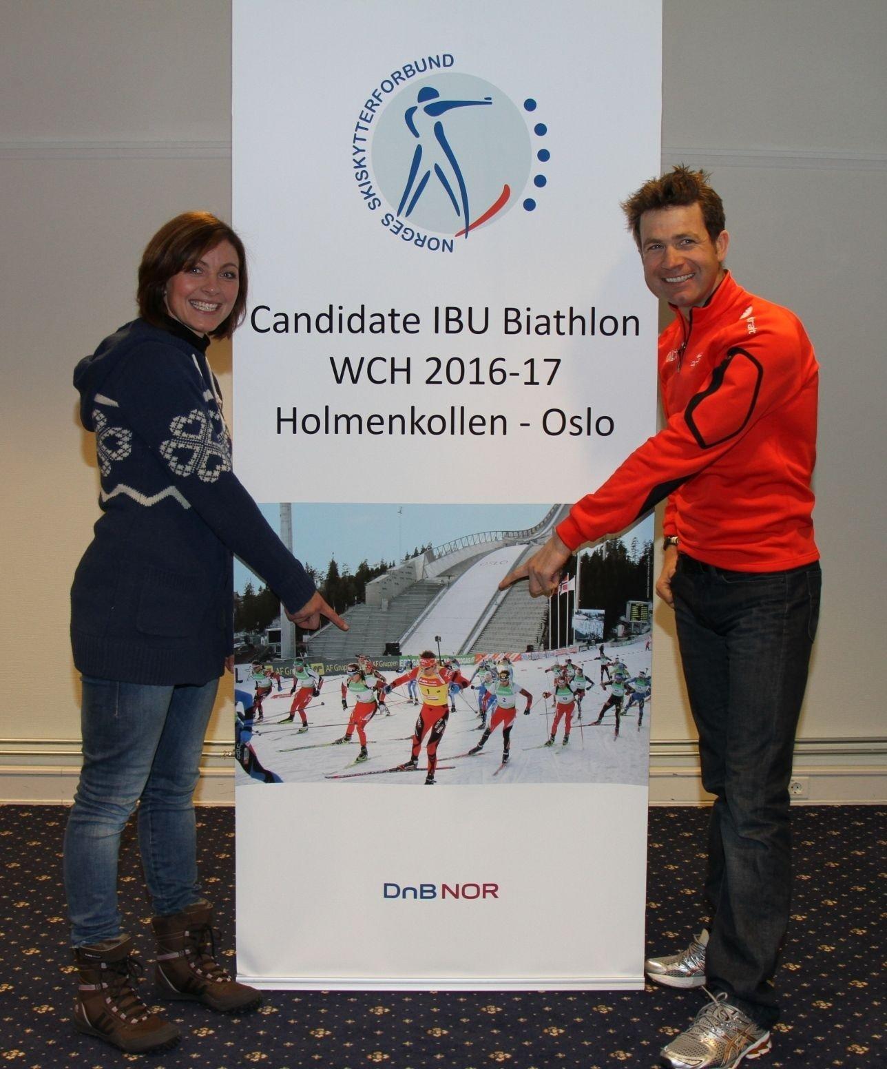 Liv Grete Skjelbreid Poirée og Ole Einar Bjørndalen håper Oslo får VM i skiskyting