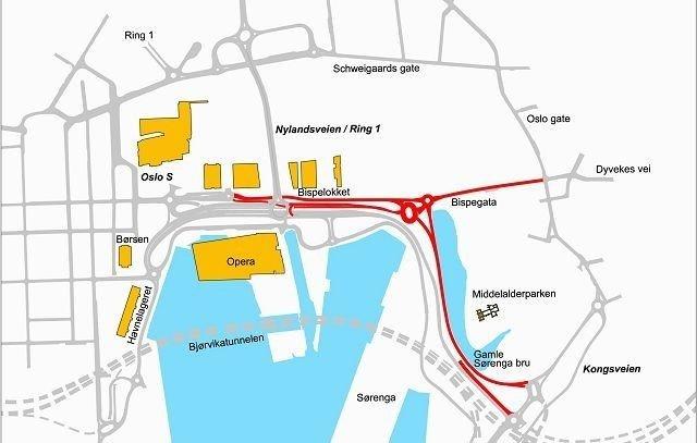 Veiene som er markert med rødt vil være stengt for bilister denne helgen. Den nye rundkjøringen kommer ved siden av dagens rundkjøring i Bispevika.