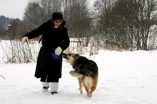 Lillian Gjerde og hunden Meadow går ofte på tur rundt Østensjøvannet. I helgen var det relativt lite snø, men fortsatt umulig å komme seg fram dersom man har barnevogn eller benytter seg av rullator eller rullestol. Foto: Kaja Stabursvik