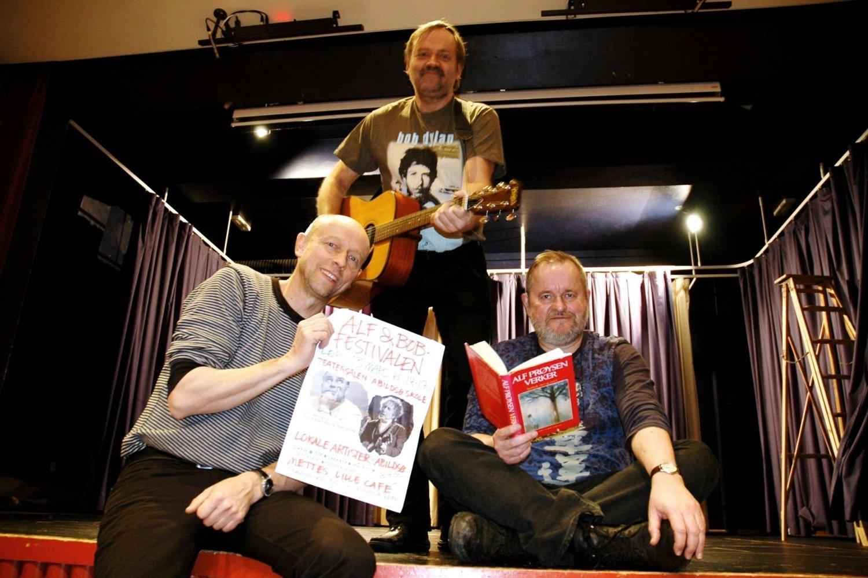Thomas Algard (f.v.), Bent Arne Sæther og Alf Skjeseth har tatt initiativet til nok en festival til ære for Alf Prøysen og Bob Dylan.