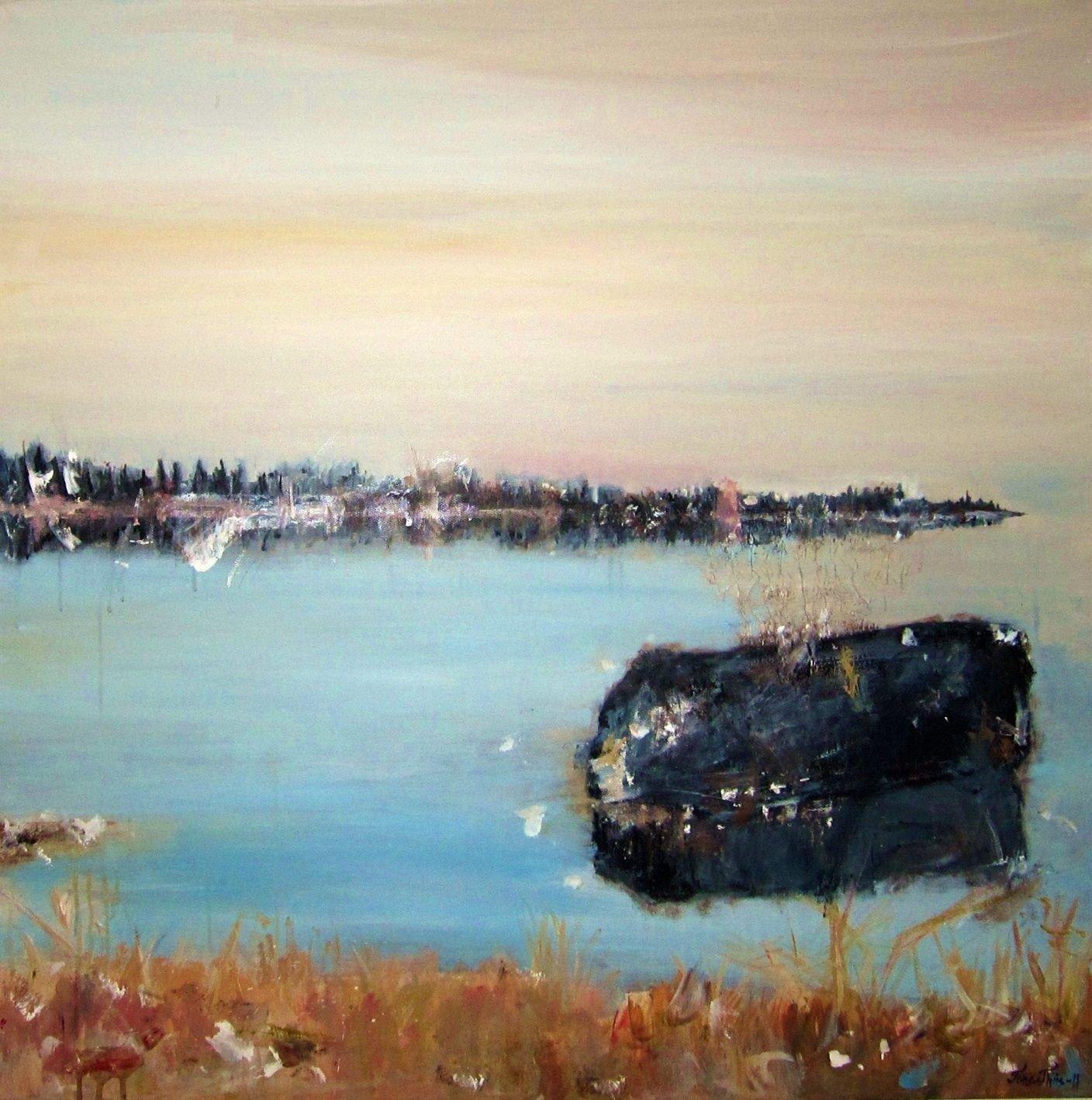 Et av Tone Thiis sine malerier i akryl.