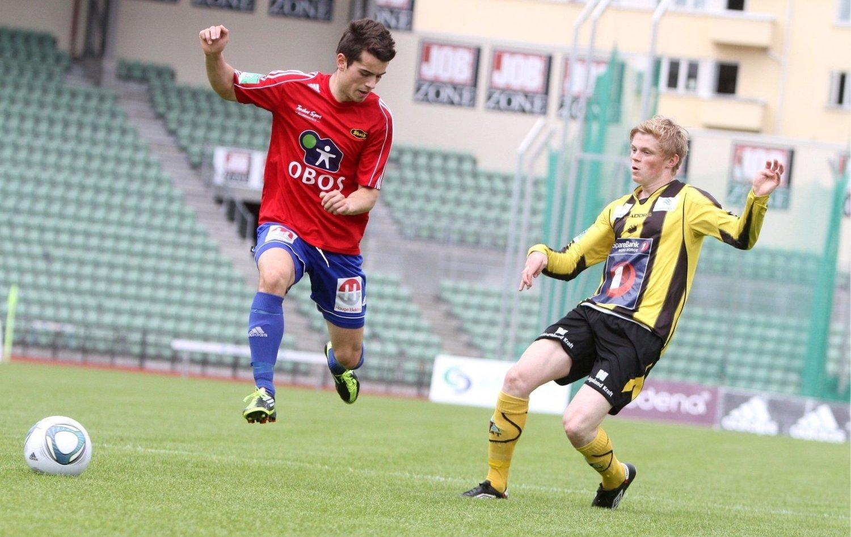 Scoret: Bardh Shala (venstre) scoret ett mål mot Harstad, men var lite involvert i spillet.