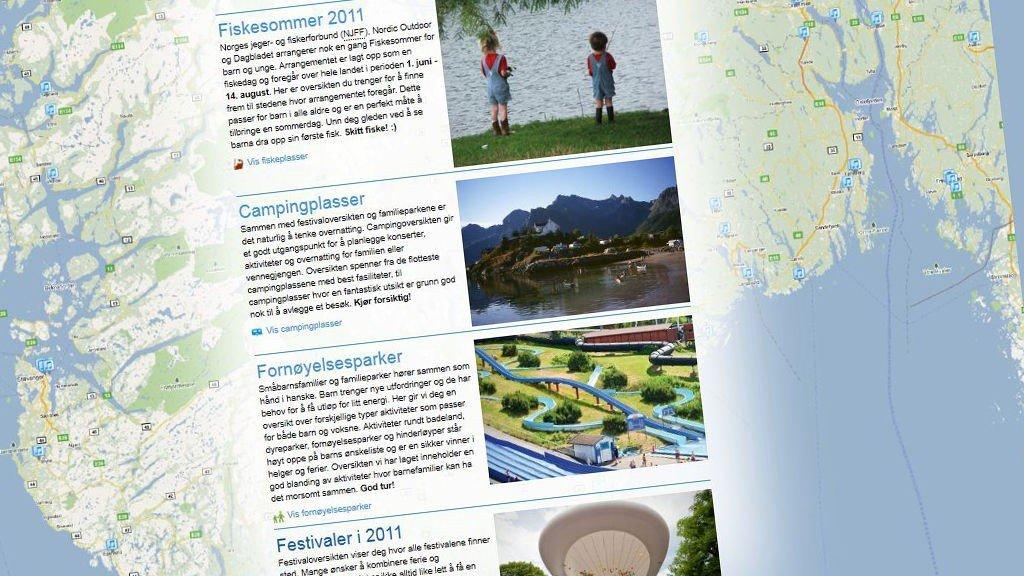 Etter god respons fra brukerne utvider man nå med en oversikt over campingplasser, familieparker, fiskeplasser og golfbaner, og om ikke lenge også oversikt over turstier og skisteder