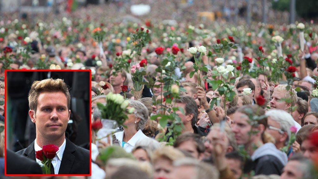BERØRT: En tydelig preget AUF-leder Eskil Pedersen holdt appell foran folkehavet på Rådhusplassen i Oslo.