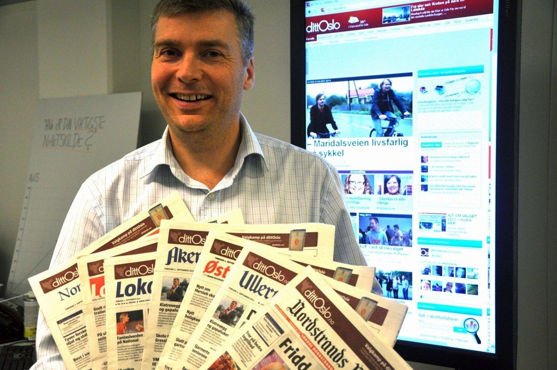 Mange jern i Ilden: Ansvarlig redaktør i Lokalavisene Oslo, Tore Bollingmo, har hendene fulle med publikasjoner, tilpasset leserne i Oslos forskjellige bydeler.