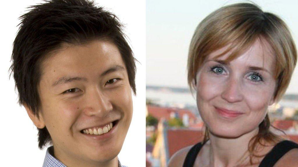 Nyhetessjef Derek André Bjølgerud(29) og Marte Svarva (31)nyhetssjef i P4.