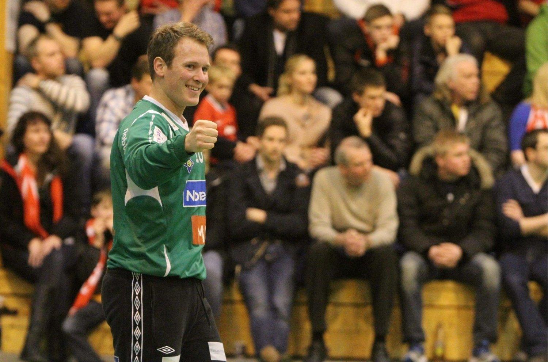 HELT SJEF: Keeperhelten Espen Wangen (25) spilte en kjempekamp foran nesten 500 tilskuere i Nordstrandhallen lørdag.