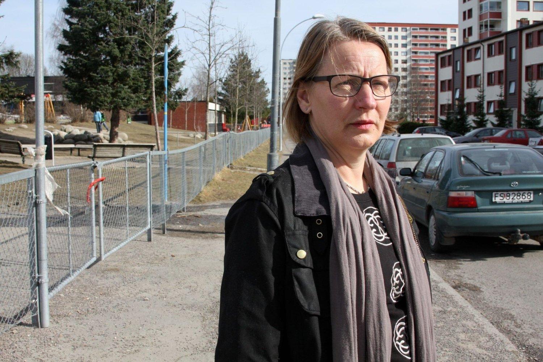FORBANNET: FAU-leder på Rødtvet Adsis Gudmundsdottir fortviler over trafikkaos ved Rødtvet skole.