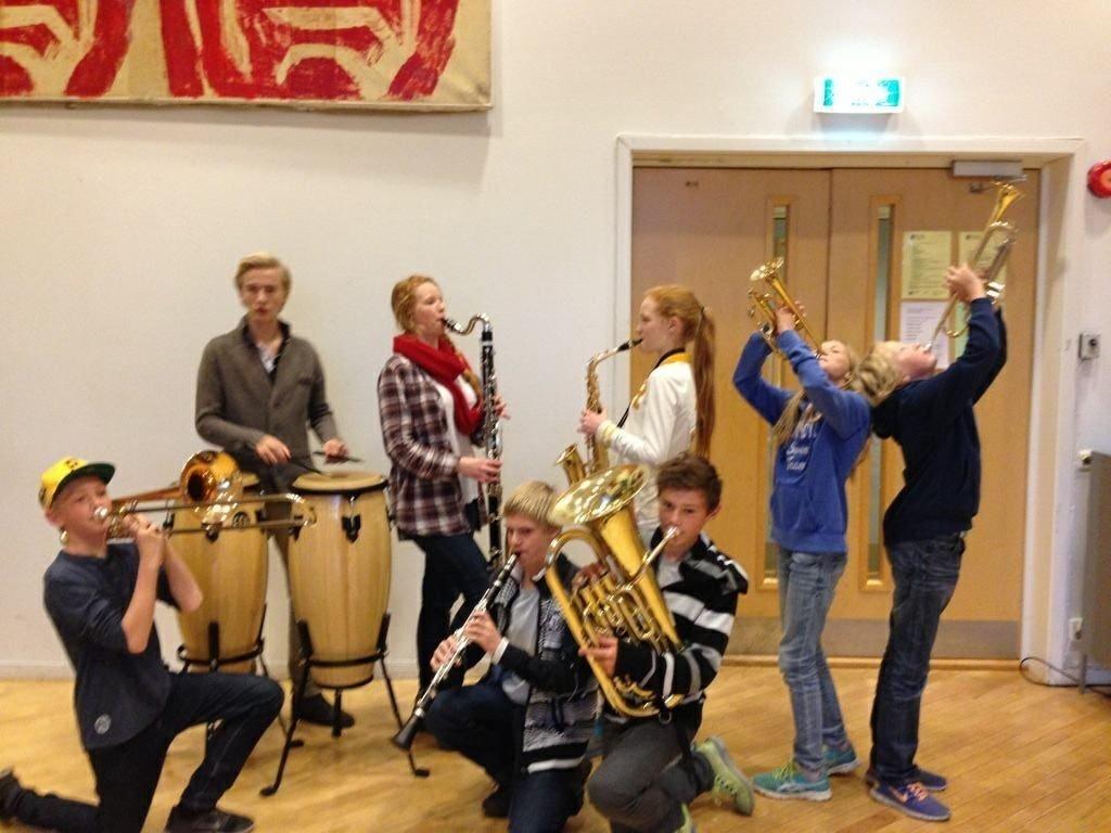 DISNEY: Noen av Grefsen skolekorps musikanter, snart blir det stor Disneykonsert sammen med Kjelsås skolekorps.