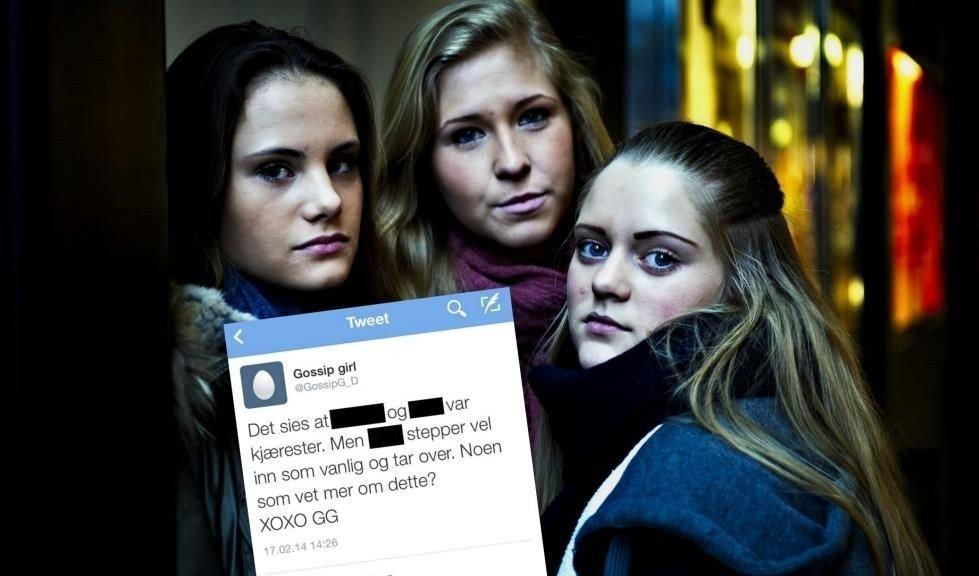 REAGERER: 15-åringene Gabrielle Hajum (t.v.), Celine Fanuelsen og Andrea Sofie Danielsen reagerer på ryktespredningen.