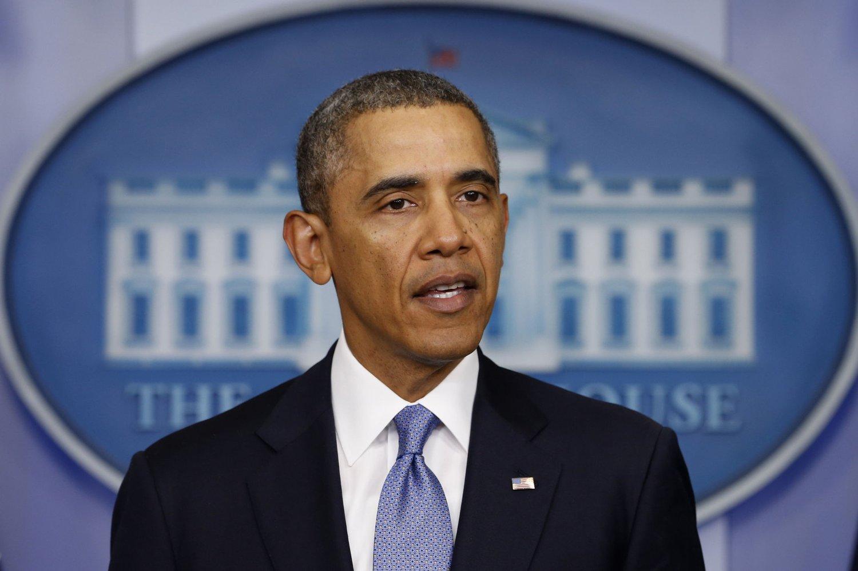 USAs president Barack Obama under pressekonferansen i Det hvite hus mandag.