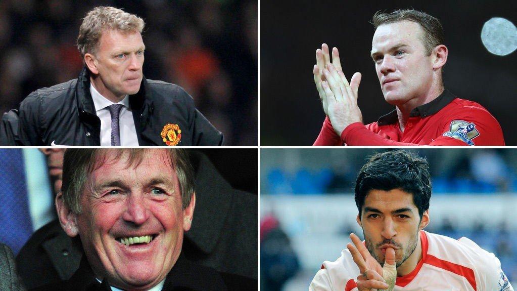 HATOBJEKTENE: Dette er de fire personene City- og United-fansen misliker mest (øverst fra venstre): David Moyes (City), Wayne Rooney (City), Kenny Dalglish (United) og Luis Suarez (United).