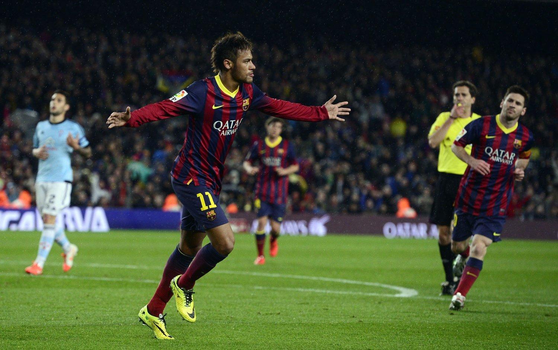 SCORET TO: Neymar scoret to mål da Barcelona tok tre viktige poeng onsdag.