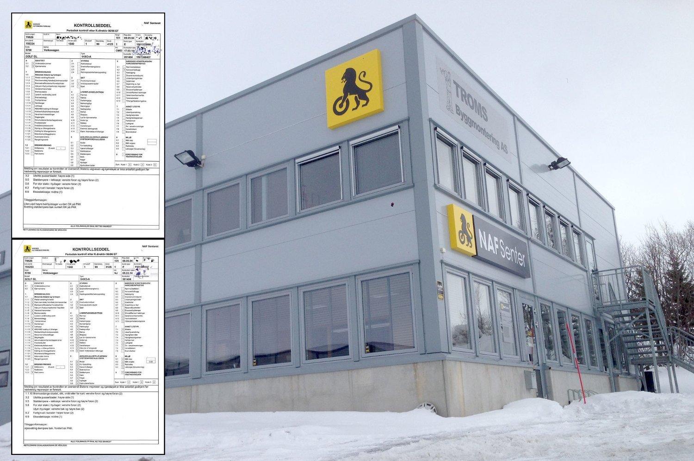NAF Senter Tromsø: Her ble bilen kontrollert - to ganger.
