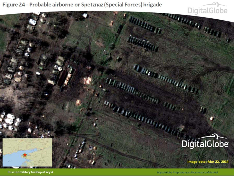 NYE BILDER: Dette er et av satellittbildene Nato har lagt fram for å dokumentere den russiske styrkeoppbyggingen ved Ukrainas grense. Bildet er hentet fra DigitalGlobe og er tatt 22. mars. Det viser det som antas å være russiske styrker, muligens Spetznaz, sør i Russland.