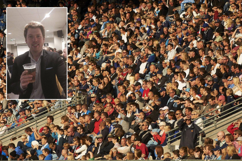 FEIRET MED ØL: Etter formannskapsmøtet i Stavanger var ferdig og vedtaket om alkoholservering var i boks, dro FpU-formann Atle Simonsen til DnB Arena hvor Stavanger Oilers spilte sluttspillskamp mot Vålerenga. Hovedbildet i montasjen er fra Viking Stadion, der det nå vil bli tillatt med øl-servering.
