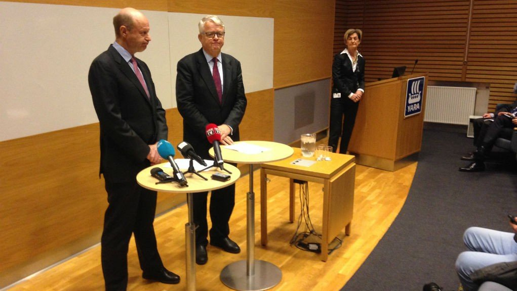Yara Jørgen-Ole Haslestad og styreleder Bernt Reitan måtte nylig stå skolerette og forklare seg i forbindelse med korrupsjonssaken.