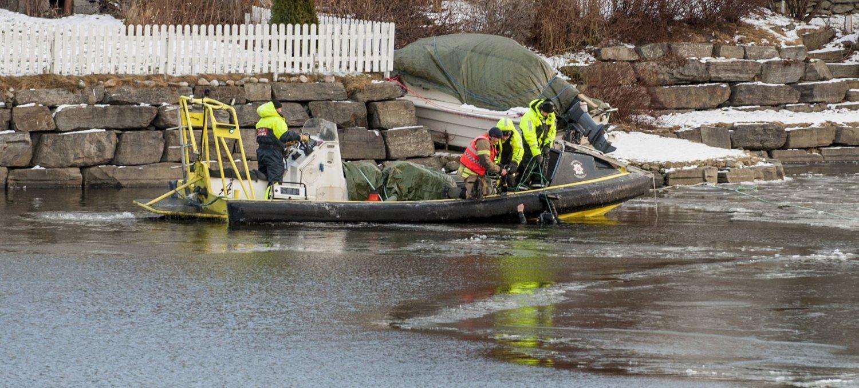 FUNNET DREPT: Vibeche Sofie Falck Danielsen ble funnet drept i Nidelva i Trondheim 20. januar i år. Bildet er tatt under leteaksjonen.