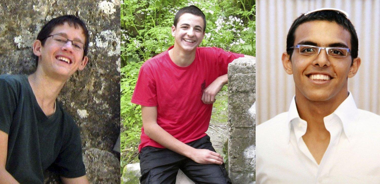 FUNNET DØDE: De tre bortførte tenåringene, fra venstre til høyre: Naftali Frenkel (16), Gilad Shaar (16) og Eyal Yifrach (19).