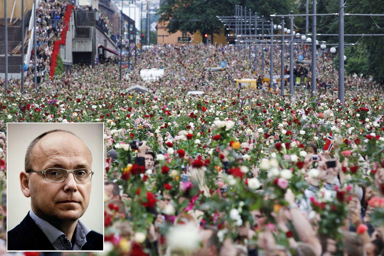 TERROREKSPERT: Polarisering er målet med alle terrorhandlinger, sier Magnus Ranstorp som har forsket på terror i over 20 år. Rosetoget har blitt selve symbolet på samholdet i Norge etter 22. juli.