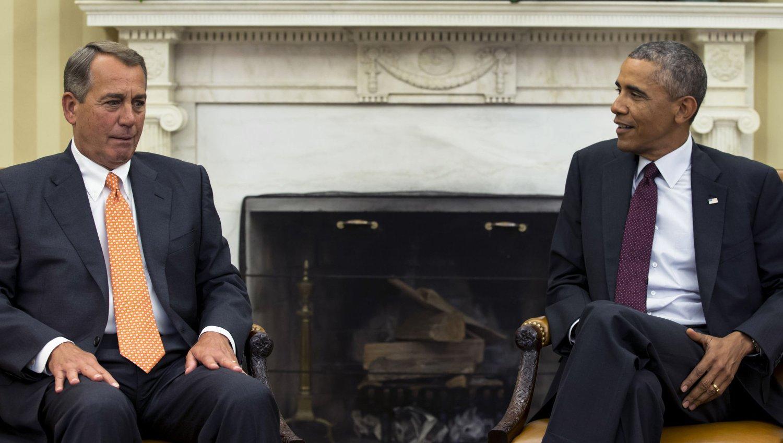 USAs president barack Obama, her sammen med John Boehner, holder tale om kampen mot ekstremisme torsdag morgen.