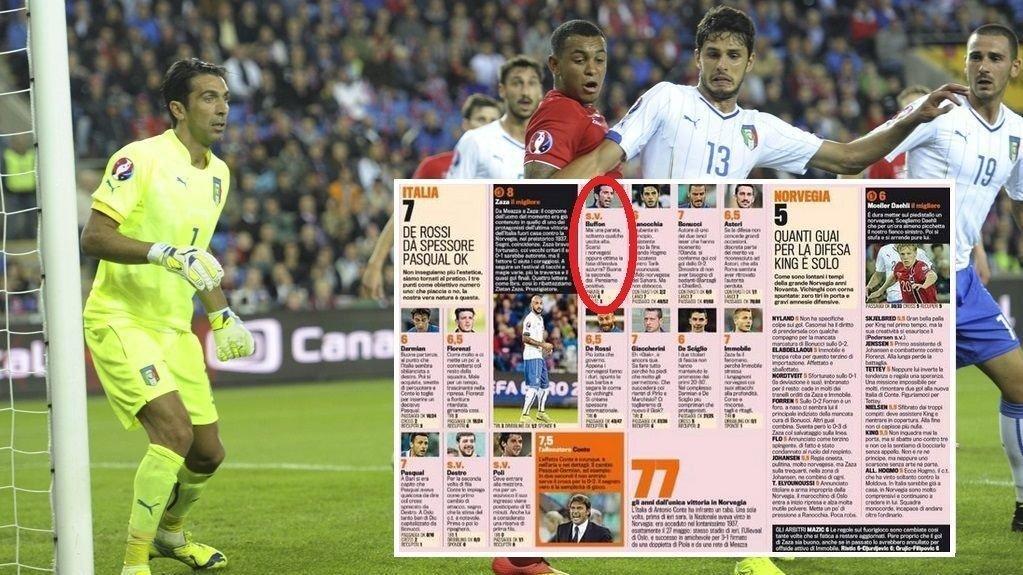IKKE VURDERT: Gazzetta dello Sport så ingen grunn til å vurdere Gianluigi Buffons innsats på Ullevaal, ettersom Norge ikke hadde noen skudd på mål.