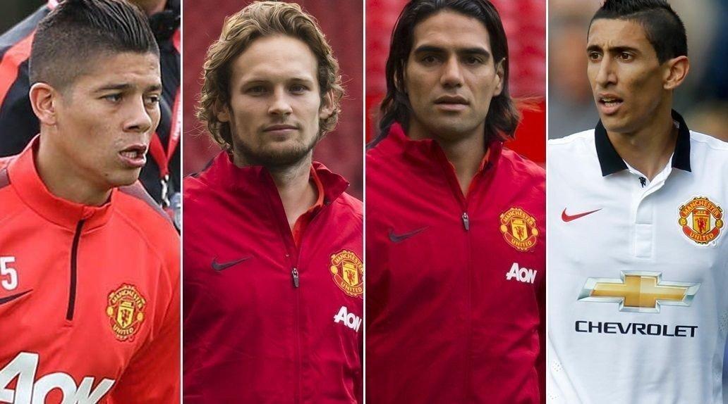 FERSKE: Marcos Rojo, Daley Blind og Radamel Falcao kan få sin United-debut i helgen. Angel Di Maria (t.h.) debuterte mot Burnley for to uker siden. Ekspertene tror United vil heve seg umiddelbart etter stjernekjøpene.