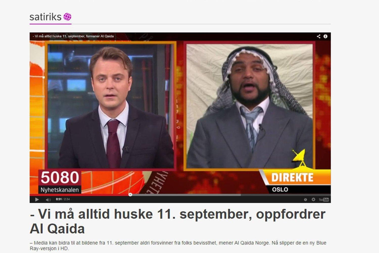 SPØKER: 5080, en humorredaksjon i NRK, inviterer en fiktiv Al-Qaida figur til studio. Nå reagerer flere. Foto: Skjermdump