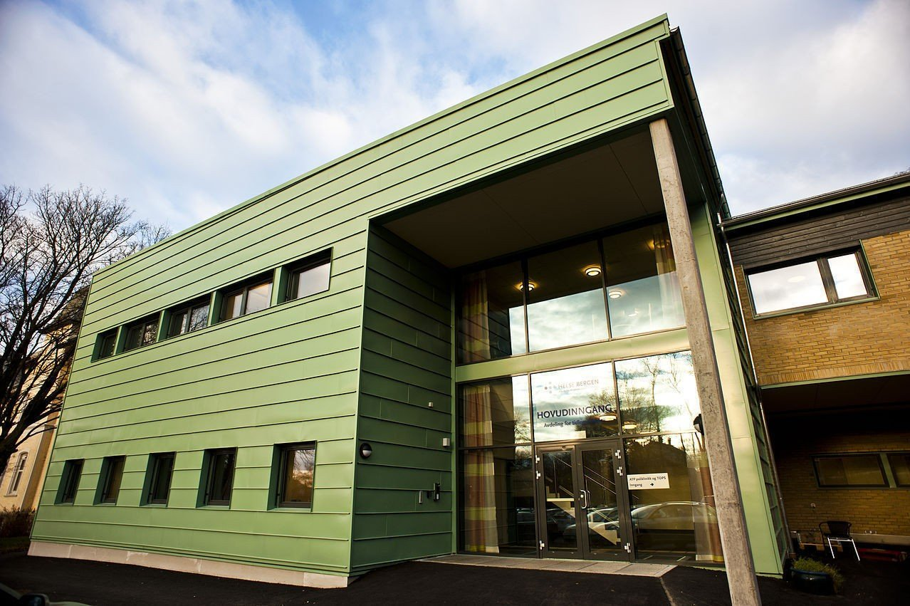 SANDVIKEN: Bilde av inngangspartiet til Sandviken sykehus, eller Psykiatrisk klinikk, Haukeland universitetssjukehus, som det offisielt heter.