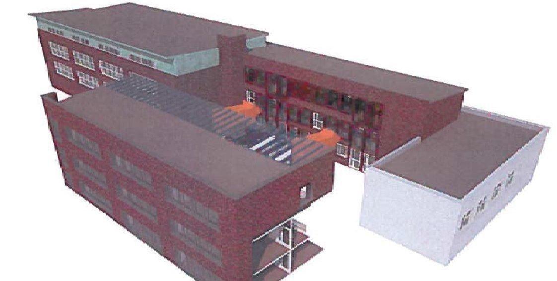 PÅ BAKSIDEN: Skissen viser hvordan FAU vil utvide skolen med tilbygget som kan felles inn sammen med resten av bygget. Skisse: Wang–Norderud Arkitekter