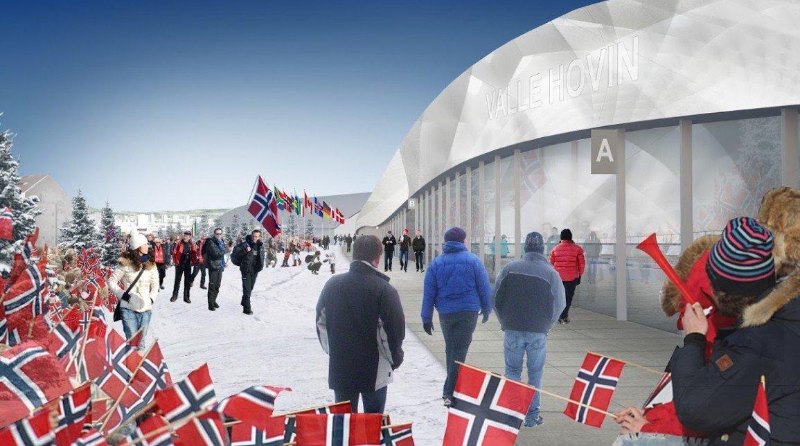 SKISSE: Nye Valle Hovin - eksteriør (illustrasjon: Oslo2022/Snøhetta Oslo AS).