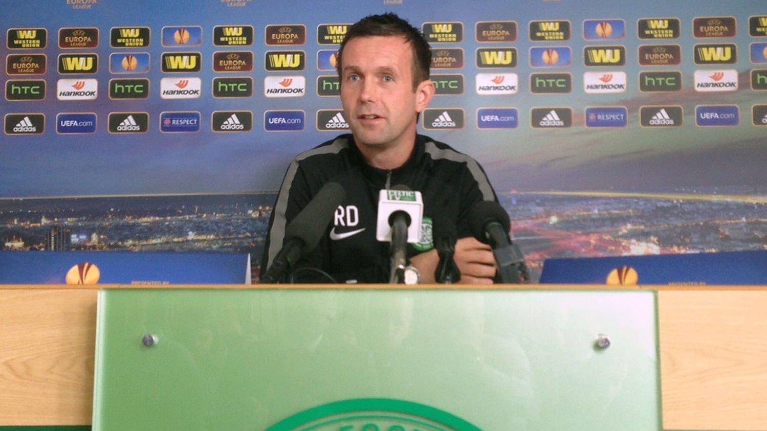 Ronny Deila på pressekonferanse onsdag. Han står overfor en skikkelig eksamen i Celtic. Fansen krever seier og storspill mot Dinamo Zagreb i europaligaen torsdag