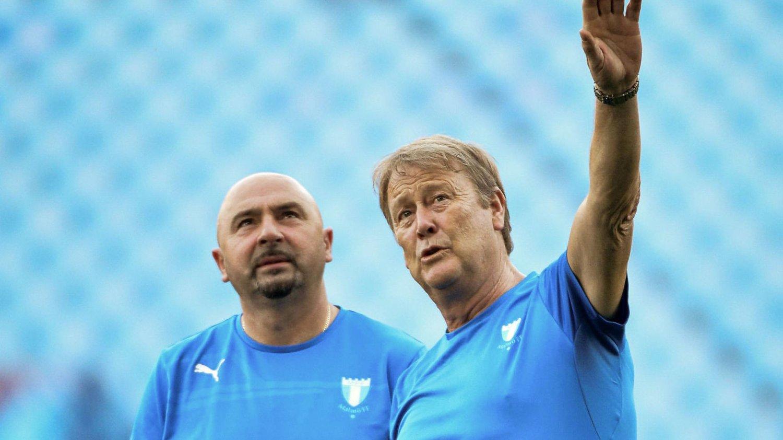 SJEKKET FORHOLDENE: Åge Hareide (til høyre) og Malmö FF trente på Vicente Calderón stadion i Madrid tirsdag