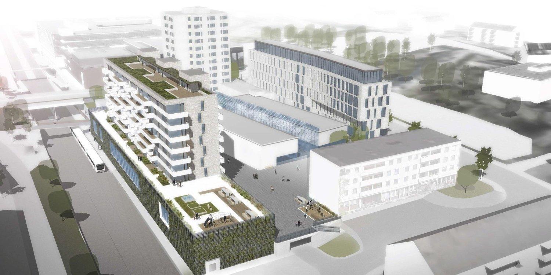 PLANER: Obos vil bygge blokker langs T-banen og kontorbygg mot Langbølgen.