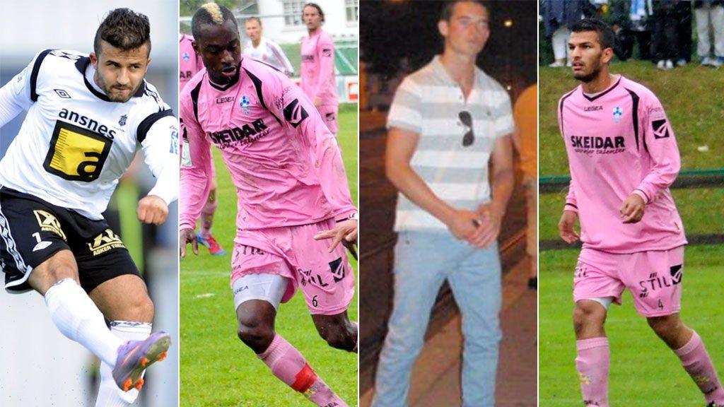 Alban Shipshani (t.v.), Pape Formose Mendy, Drin Shala og Saif Haydar er tre av de seks tiltalte spillerne i kampfiksingssaken.
