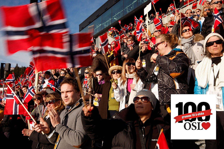 Ingen andre nasjoner kan vise til de norske folkefestene - her fra Ski-VM i Holmenkollen 2011. Folka i Oslo er også den aller viktigste grunnen til at vi elsker denne byen.